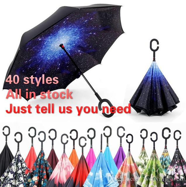 49f2eb66058e6 2019 2017 Inverted Umbrellas Reverse Windproof Ultraviolet Proof Double  Layer Sunshade 55CM 3D Print C Handle Inside Out DHL From Weaving web
