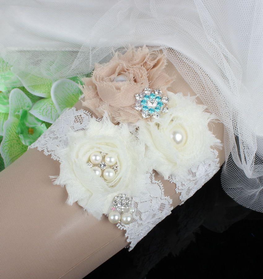 Ivory Lace Rhinestones Pearls Chiffon Flowers Wedding Garter Set Luxury  With Bridal Leg Garter Belt Beads Bride Accessories Plus Size Wedding Leg  Garters ... d3072e8845ff