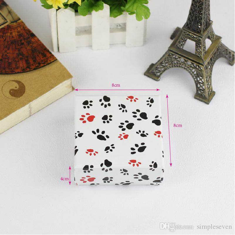 [Sette semplici] 8 * 8 * 4cm Stampato amore insieme di gioielli Kraft carta scatola quadrata, foglie di acero collana scatola di trasporto, impronte di cane braccialetto display
