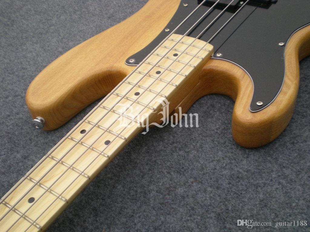 wholesale and retail new Big John elm body left-hand natural electric bass guitar F-1291