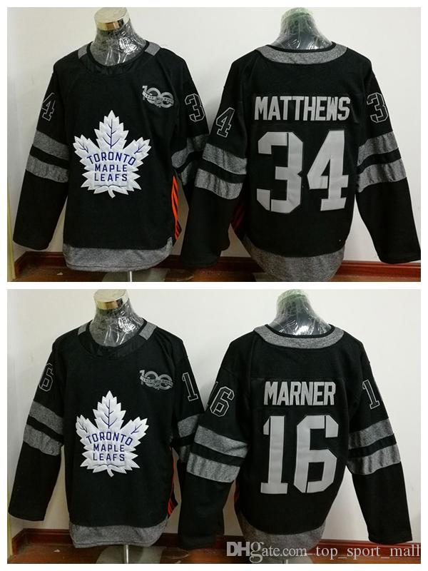 100th Toronto Maple Leafs Jerseys 2017 Ice Hockey 34 James Reimer 16 Mitch Marner Black Uniforms Fashion All Stitched Top Quality On Sale