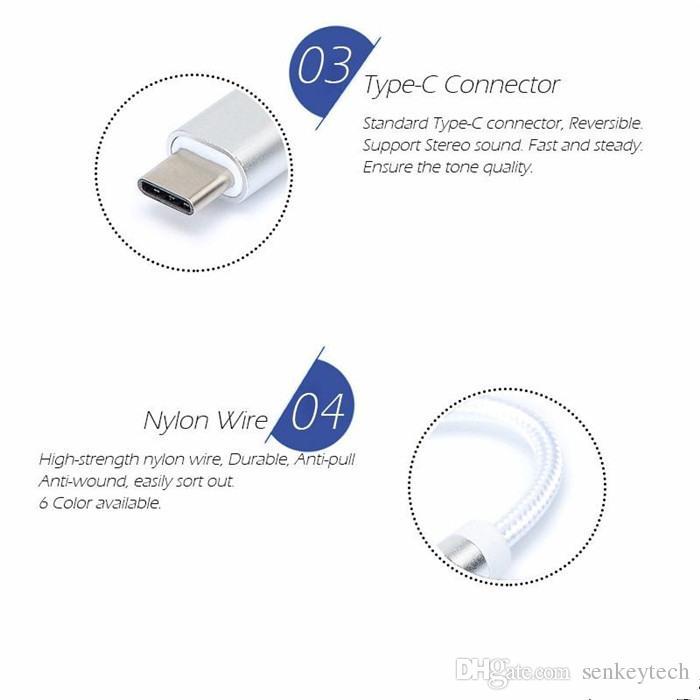 النايلون مضفر 12CM محول الصوت ذكر من نوع C إلى 3.5MM جاك أنثى الصوت AUX كابل Covertor ل Letv MI6