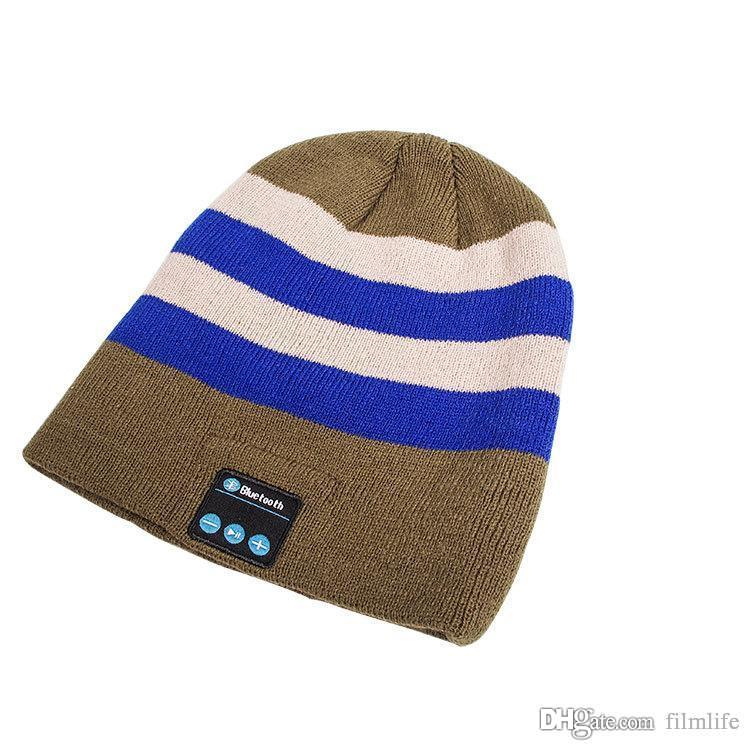 ccc68fd008855 Knitted Acrylic Winter Beanie Hat Bluetooth3.0 Stereo Wireless Earphone  Speaker Microphone Handsfree For IPhone567 Universal Music Hat Bluetooth  Phone ...