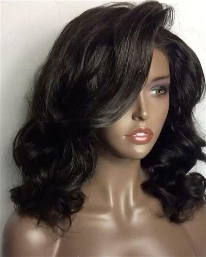 8A Short Bob Wig With Bangs Full Lace Wigs Human Hair Brazilian Short Bob Lace Front Wigs Virgin Hair Cuts Bob Human Hair Wigs