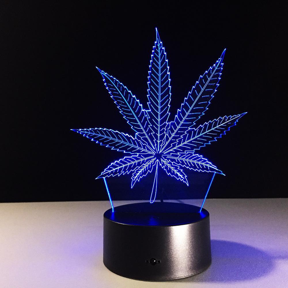 Feuille 3D Illusion LED lampe de nuit lumière 7 RVB colorée 5 Powered USB Bin batterie bouton tactile Dropshipping boîte-cadeau