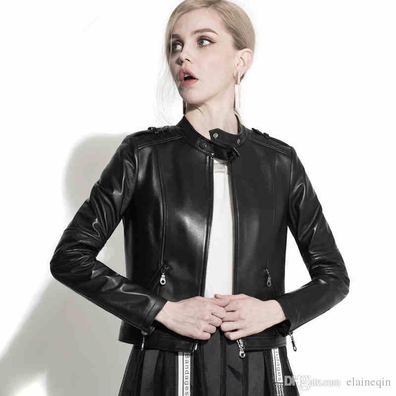 2017 Hot Sales Genuine Leather Jacket Women Sheepskin Zipper ...