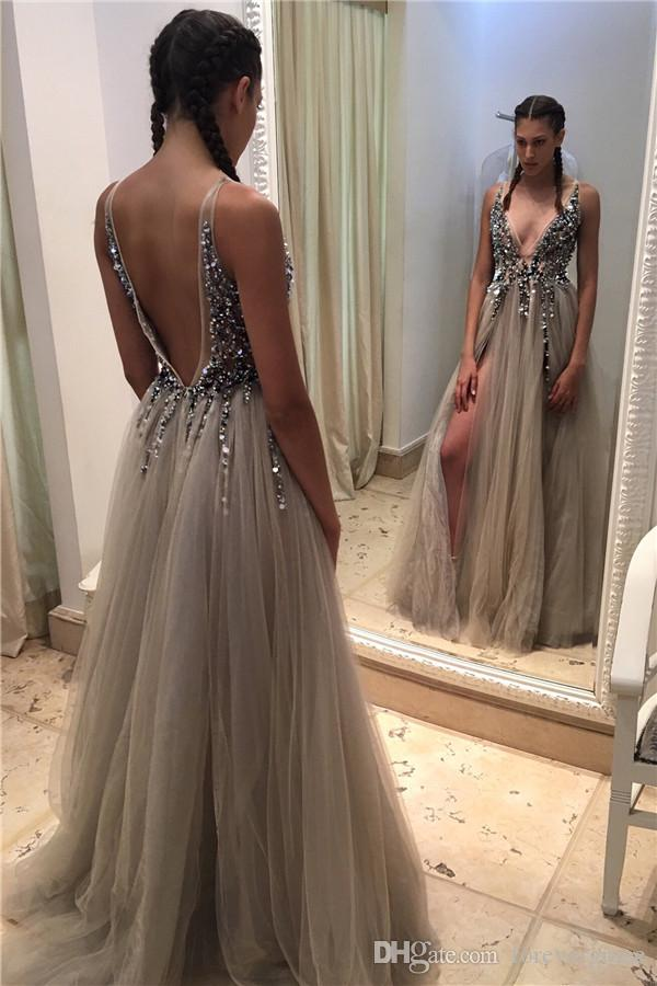 저렴한 섹시 긴 딥 브이 넥 댄스 파티 드레스 정면 분할 반짝 Bodice 슬리 프락 저녁 파티 가운 사용자 정의 만든 플러스 크기