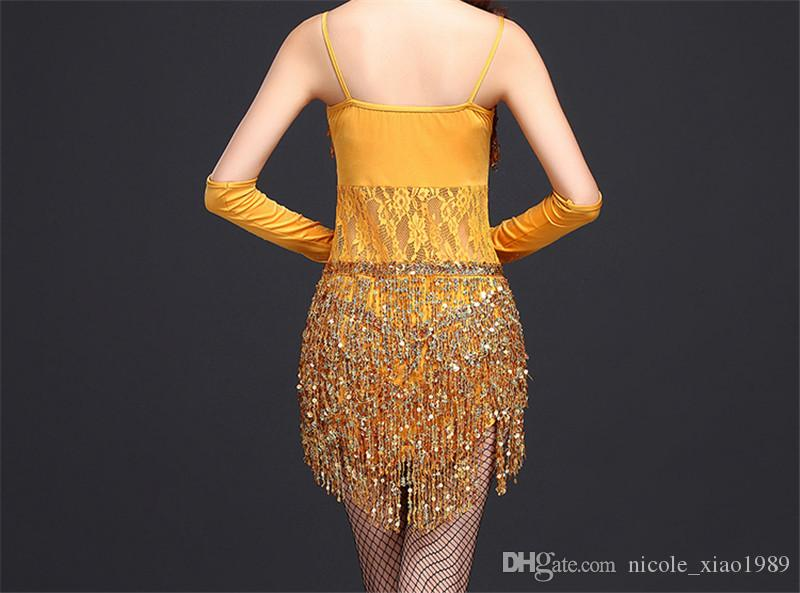 2017 New Latin dance dress women sexy suspenders sequins embroidered tassel Rumba Tango Sasa Samba ballroom costumes clothing 001