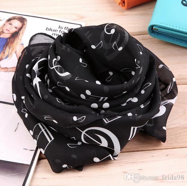 50 * 160cm Nuovo arrivo coreano stile musicale nota stampato signora sciarpa di seta chiffon WJ-077
