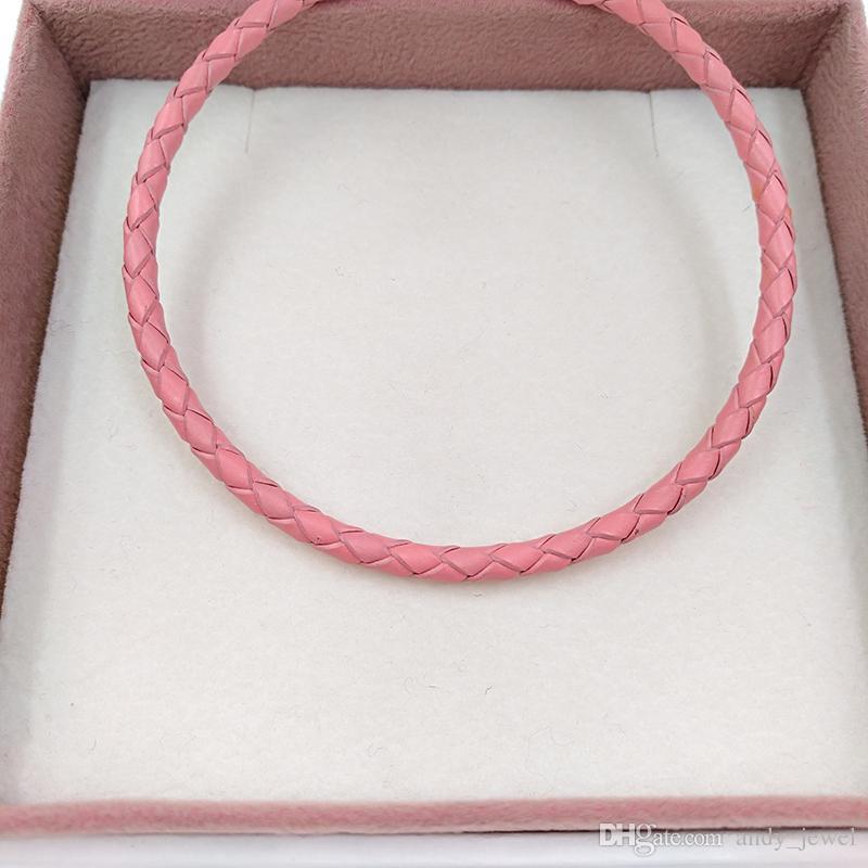 Autentico 925 momenti in argento sterling momenti singoli cinturino in pelle intrecciata - rosa adatti gioielli in stile Pandora europeo charms perline ragazze gifts59070