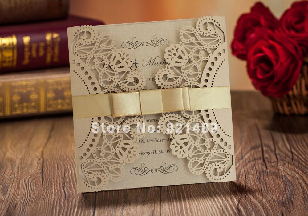 wholesale fancy golden lace wedding invitation with ribbon bow