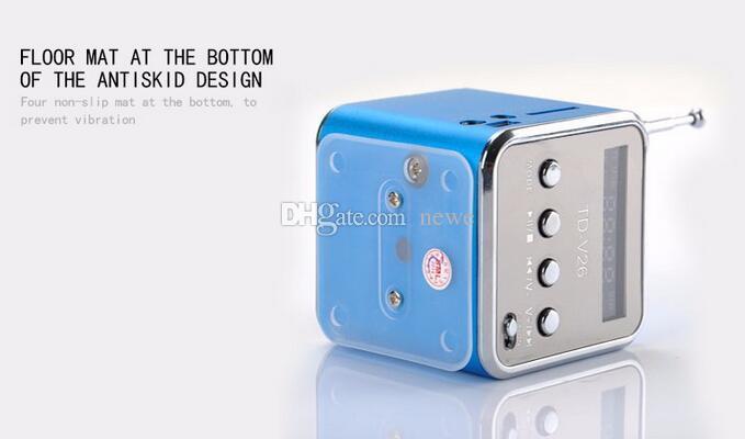 새로운 Bluetwo TD-V26 미니 스피커 휴대용 디지털 LCD 사운드 마이크로 SD / TF FM 라디오 음악 스테레오 라우드 스피커 노트북 휴대 전화 MP3 용