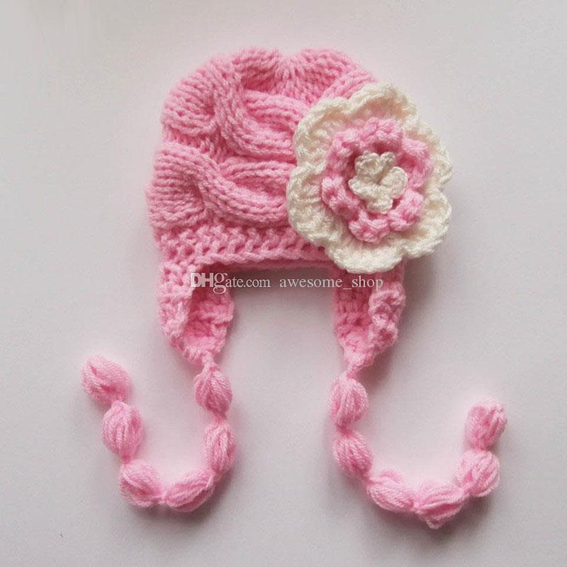 Knit Pink Baby Hat Newborn Baby Girl Hat Ear Flapcrochet Flower