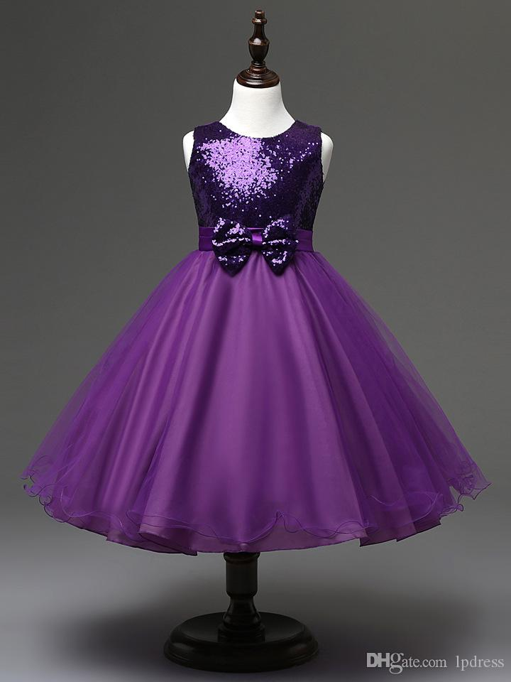 198dbb694e Sparkling Purple,Royal Blue,Red Sequined Flower Girls Dresses Ball Gown Tea  Length Flower Grils Party gowns Big Bow Flower Girls' Dress