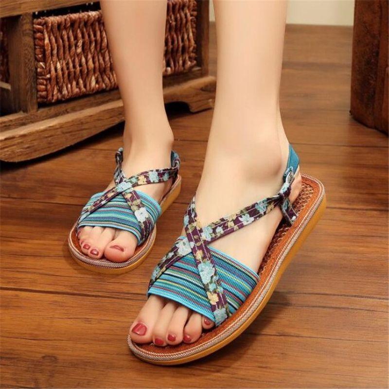 86a1f617121fa8 Koovan Women Sandals 2017 Summer New Korean Nature Brown Fiber Casual Lady  Sandals Breathable Deodorant Colour Split Slipper Dress Shoes From Koovan