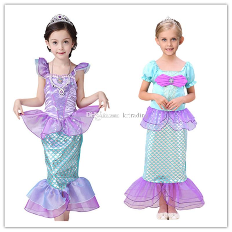 104c254fc58 2019 2 Styles Girls Mermaid Princess Dresses Party Cosplay Clothing Kids  Cosplay Costume Child Birthday Festivals Party Performance Dresses From  Krtrading