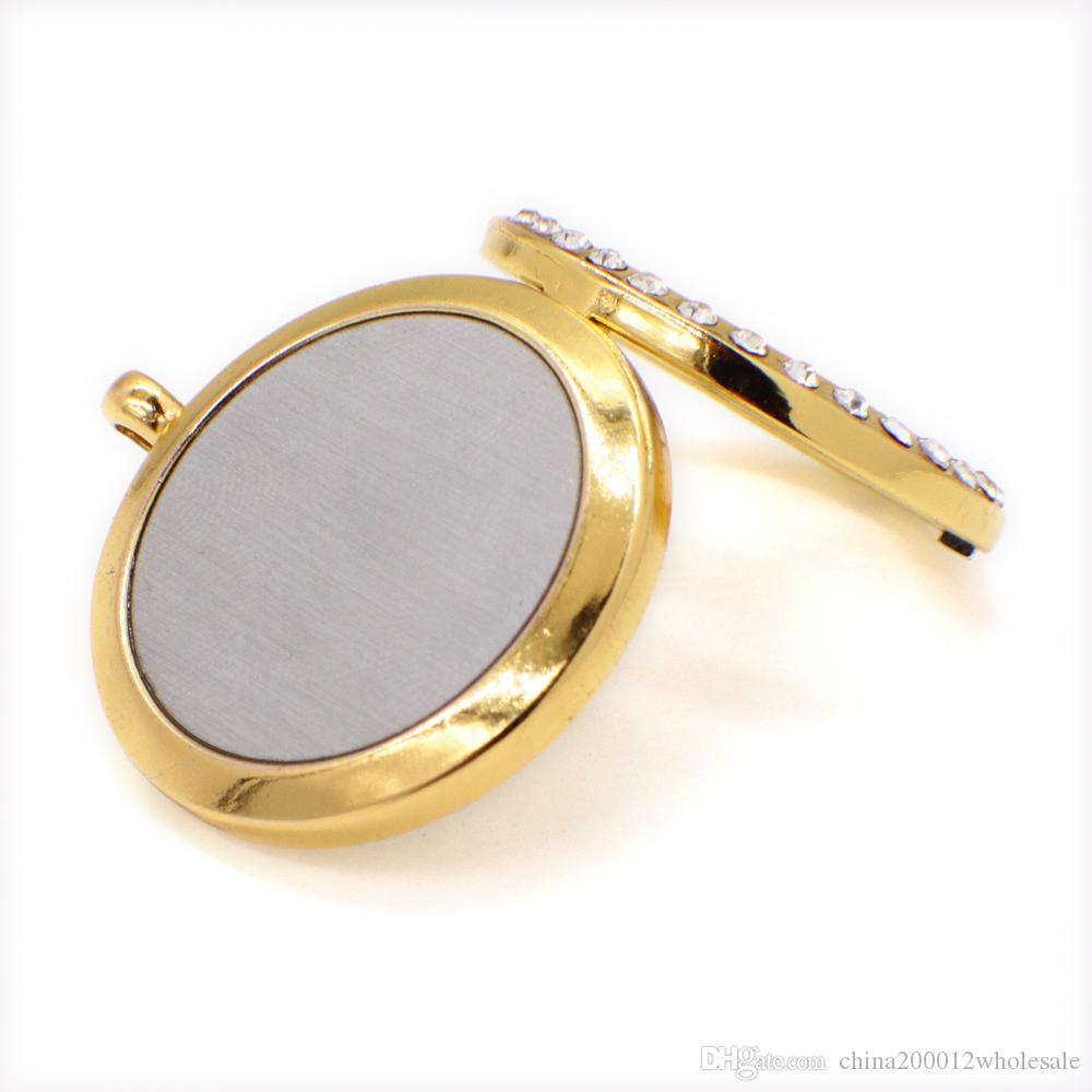 Cross Perfume Aromatherapy Essential Diffuser Locket XX466 Zinc Alloy Crystal 30mm Hollow Locket Gold Free Felt Pads Best Birthday Gift