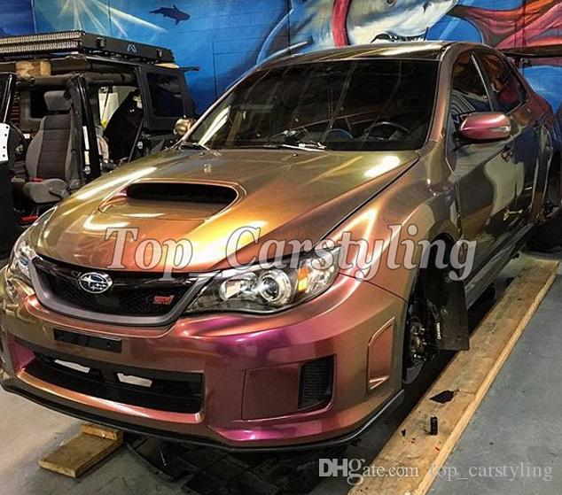 2019 Wine Red Gloss Rainbow Drift Car Wrap Film With Air