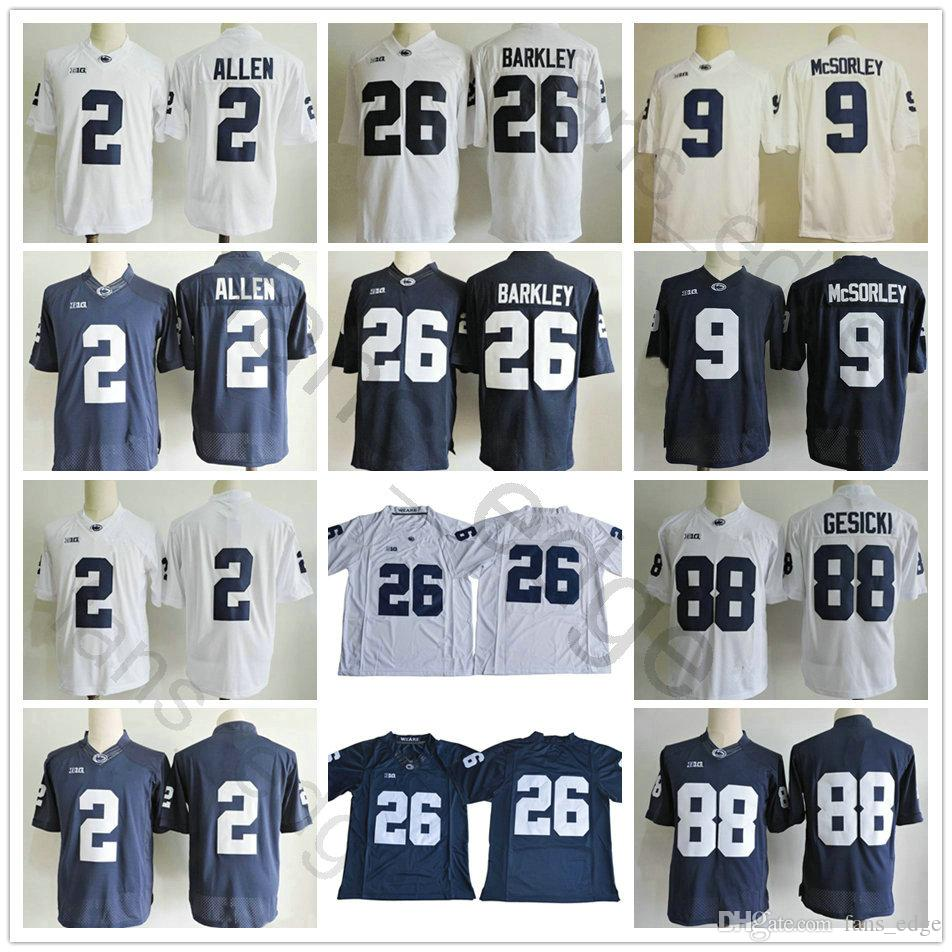 e19645798 NCAA Penn State Nittany Lions 2 Marcus Allen 9 Trace McSorley Jersey 26  Saquon Barkley 88 Mike Gesicki Blue White College Football Jerseys UK 2019  From ...