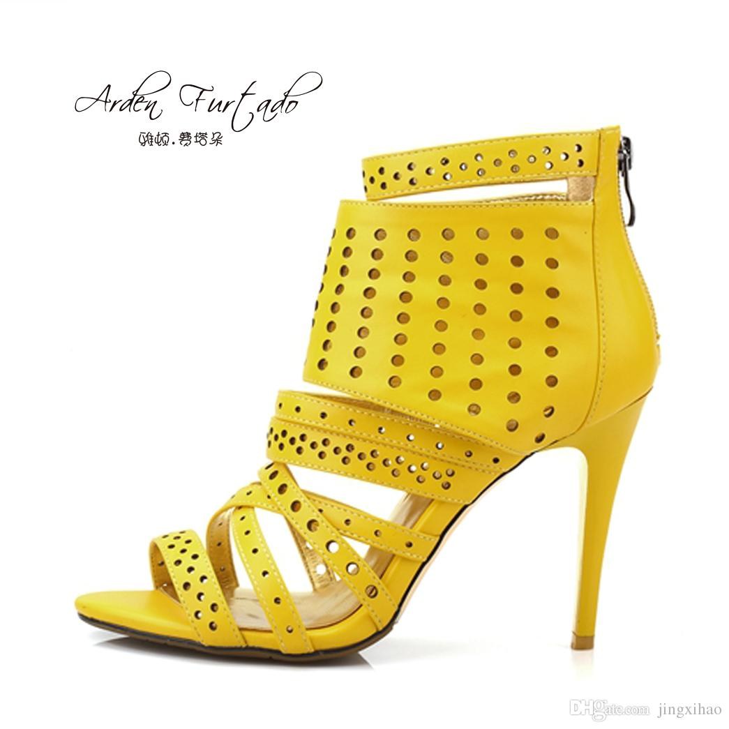 a4b3aa60aade New 2017 Summer Shoes for Woman Ankle Boots Yellow Sexy Cutout High Heels  12cm Back Zipper Peep Toe Shoes Women Stiletto Sandals Summer Ankle Boots  High ...