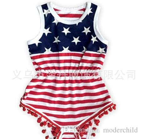 8b7bfb75a61c7 2017 Summer 4th of July Independence Day Toddler Girl Rompers Tassel Baby  Fourth of July American Flag Usa Jumpsuit Infant Boutique Clothing 4th of  July ...