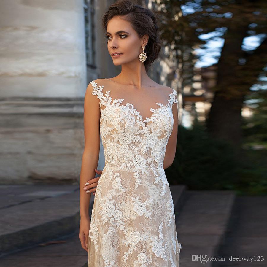 Lace Vestido de Noiva 2020 vestidos de noiva Illusion Decote Appliques Vintage Robe de mariage Bainha vestidos de casamento Sheer Voltar Vestido