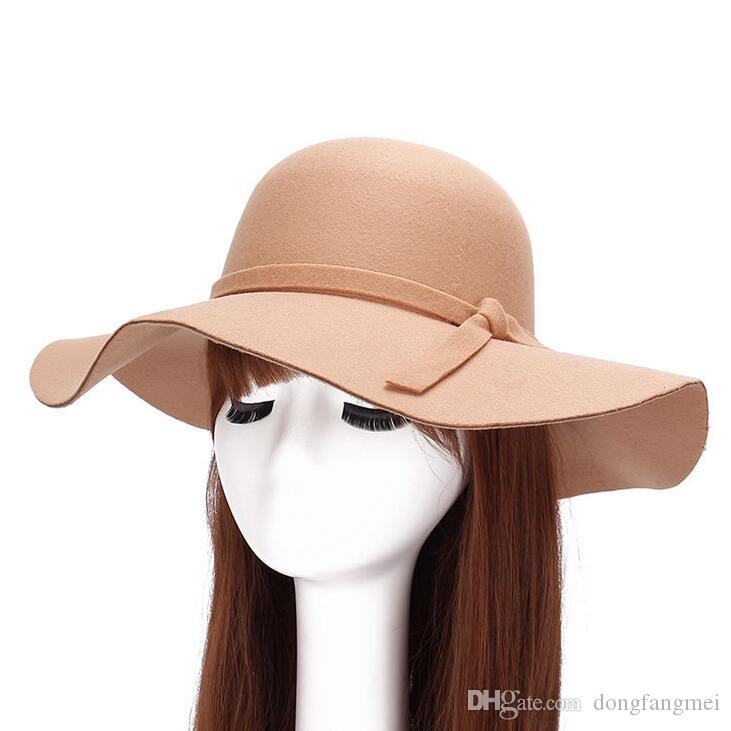 New wave big edge along the hat autumn and winter fashion imitation wool woolen hat lady ceremony cap DMB024