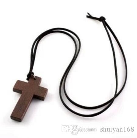 Collana in legno croce coreano stile vintage gioielli ciondolo semplice croce in legno e corda in pelle da sposa collana da donna catena maglione