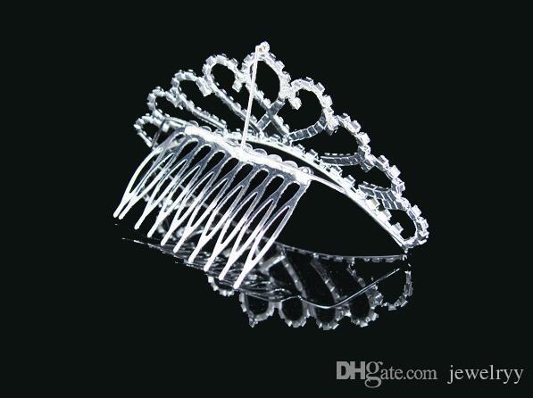 Bridal Wedding Tiaras Crystal Rhinestone Crown Crystal Hair Comb Hairpins Shinning Women Hair Jewelry for Bride