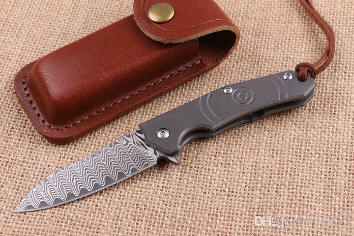 Promotion New Design Damascus Flipper Folding knife 60HRC Blade TC4 Titanium Handle EDC Pocket folding knife Gift knives