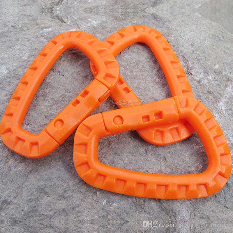 Hebilla de alpinismo con forma de D Clip de plástico Mosquetón de escalada de acero Colgante Llavero Gancho Ajuste Ejército exterior EDC