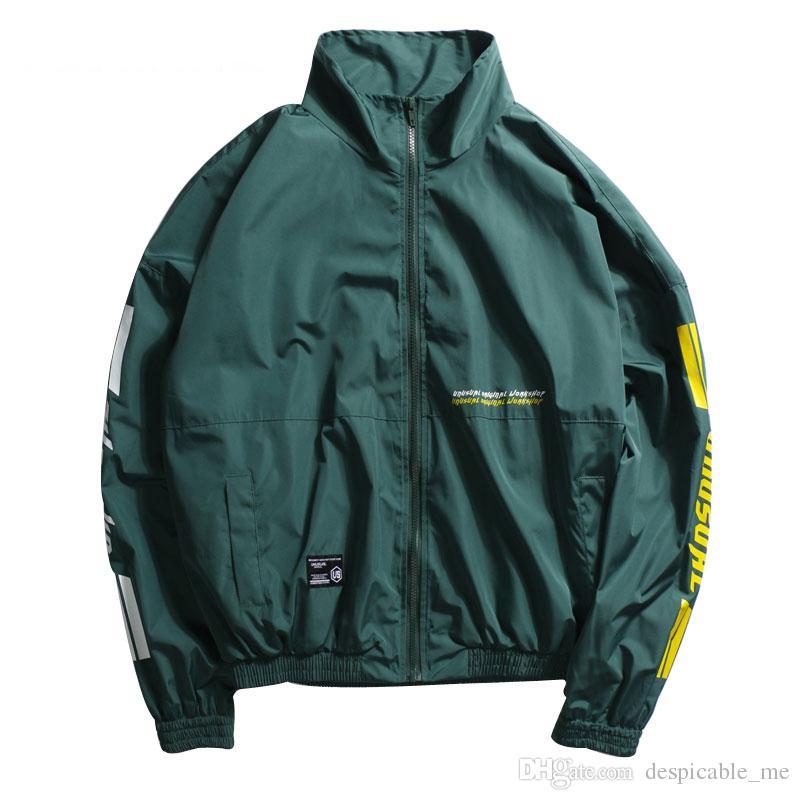 db0d844a6955 Vintage Full Zip Up Track Jacket Mens Stand Collar Windbreaker Jackets Hip  Hop Loose Coats Streetwear Green Red Black Hockey Jacket Coat Or Jacket  From ...