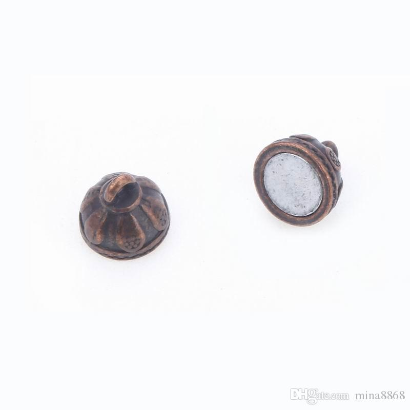 8*15mm hole 1.2mm Round Ball Vintage Copper Jewelry Making Accessories Magnetic Magnet Clasp for jewelry DIY magnet buckle connectors Parts