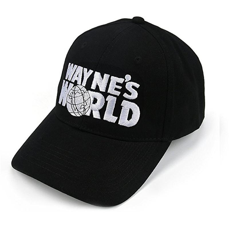 Wholesale- Wayne's World Black Cap Hat Baseball Cap Costume Fashion Style Cosplay Embroidered Trucker Hat Unisex Mesh Cap Adjustable Size