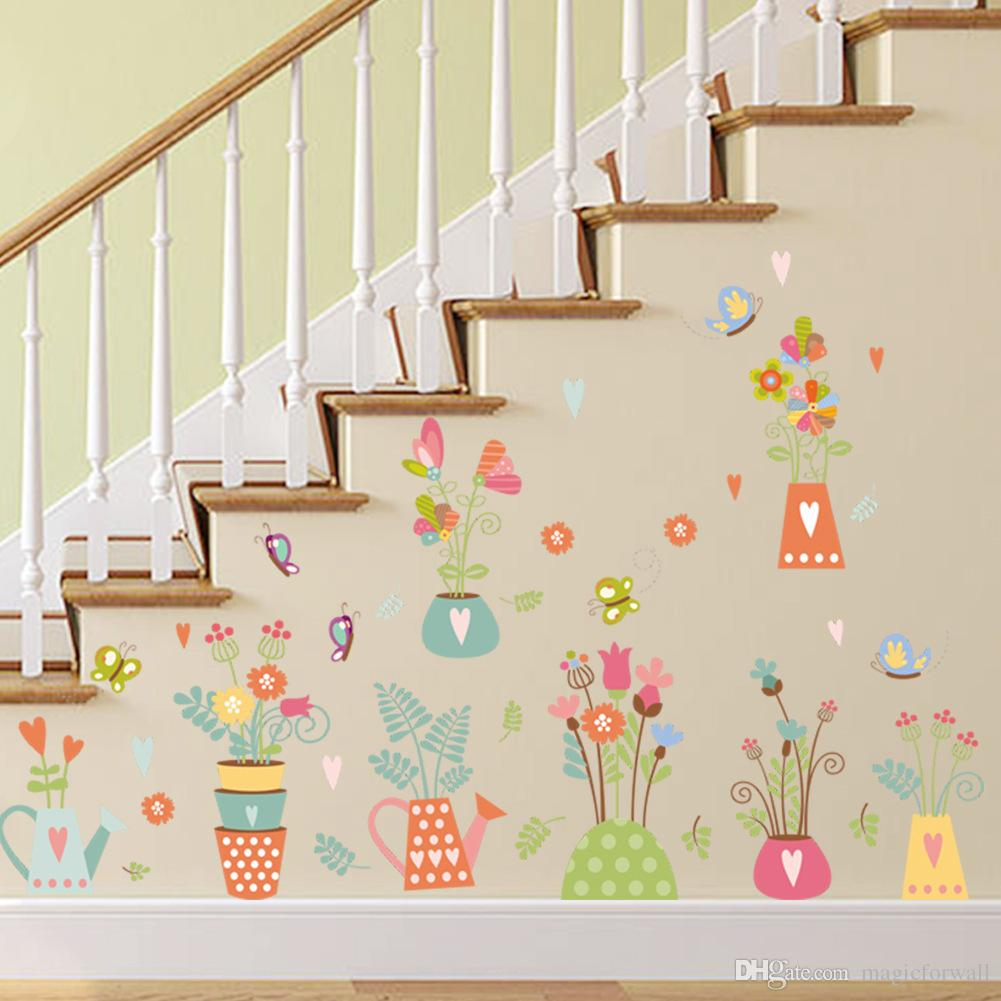 Colorful Potted Flowers Butterfly Wall Stickers Kids Room Nursery Wall Border Hallway Decor Wall