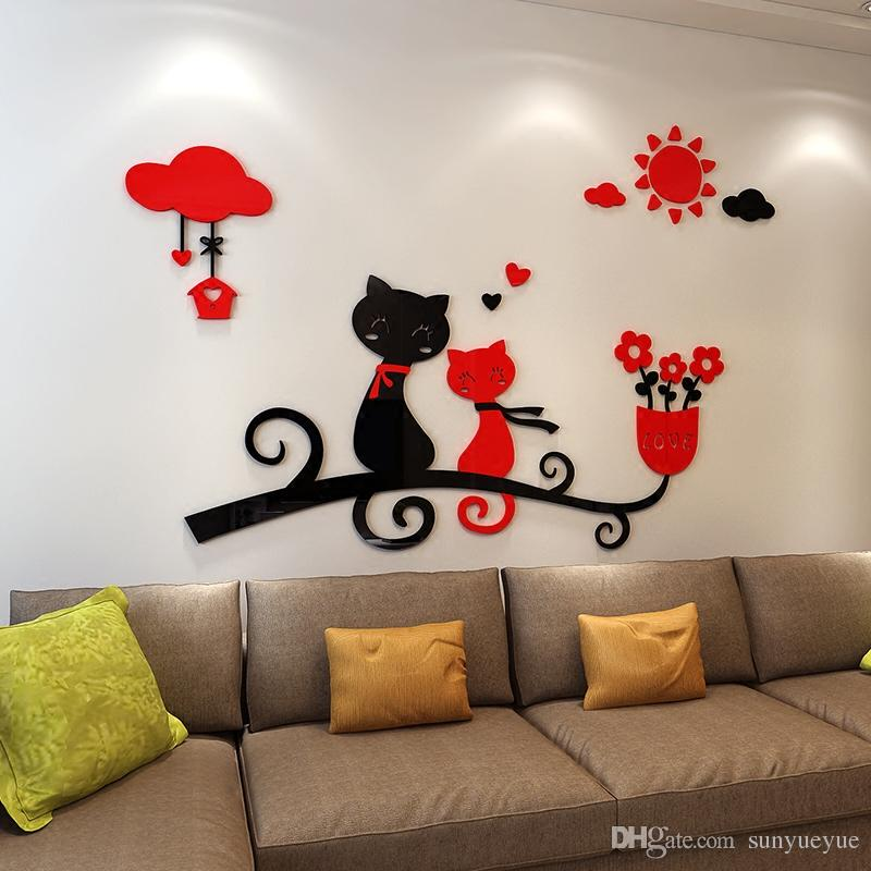 Cartoon Love Cat 3d Wall Stickers Kindergarten ChildrenS Room Decoration Bedroom Living Sticker On The From