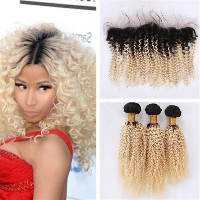 Темные корни блондинка кружева фронтальная закрытие с пучками волос Ombre 1B/613 девственные волосы афро кудрявый вьющиеся ткет с 13*4 кружева фронтальная