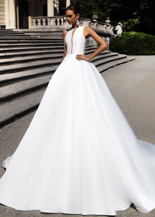 compre vestidos de novia bordados con cuentas de satén a line de la