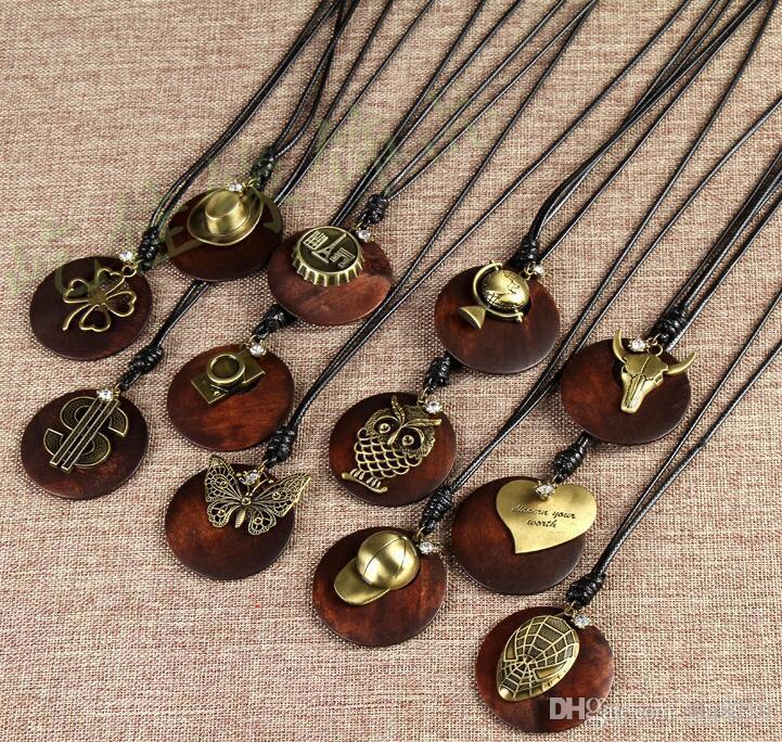 Vintage Massivholz Halskette Giraffe Ngau Tau-Kreuz Herz Lederband Pullover Kette Männer Frauen handgemachte stilvolle Weihnachtsgeschenke