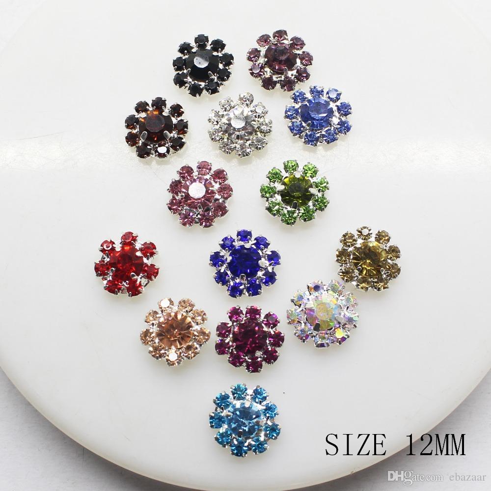 100 sztuk 12mm Kwiat Metalowy Rhinestone Button Flatback Wedding Decor Zdobienia Crafting DIY Sprzączki Akcesoria