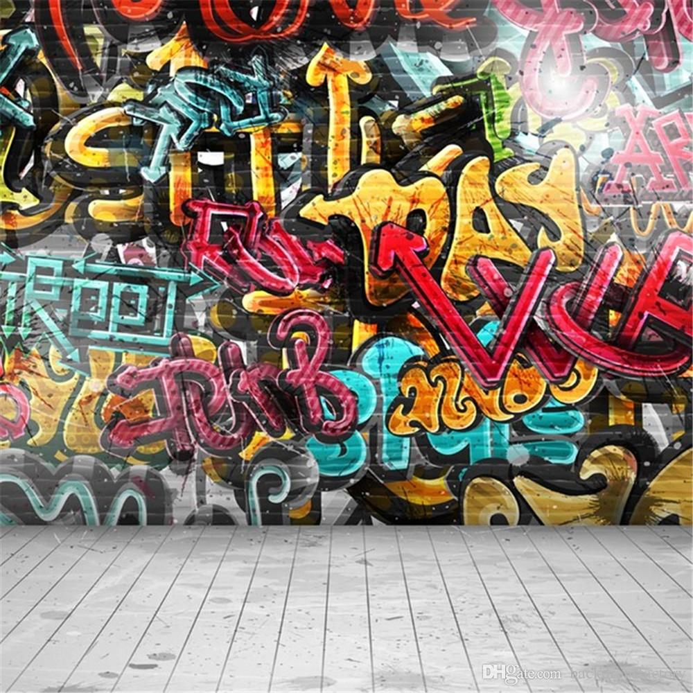 Wall graffiti vinyl lettering - Digital Painted Graffiti Wall Backdrop Photography Children Kids Studio Backgrounds Wood Floor Vinyl Photo Shoot Backdrops