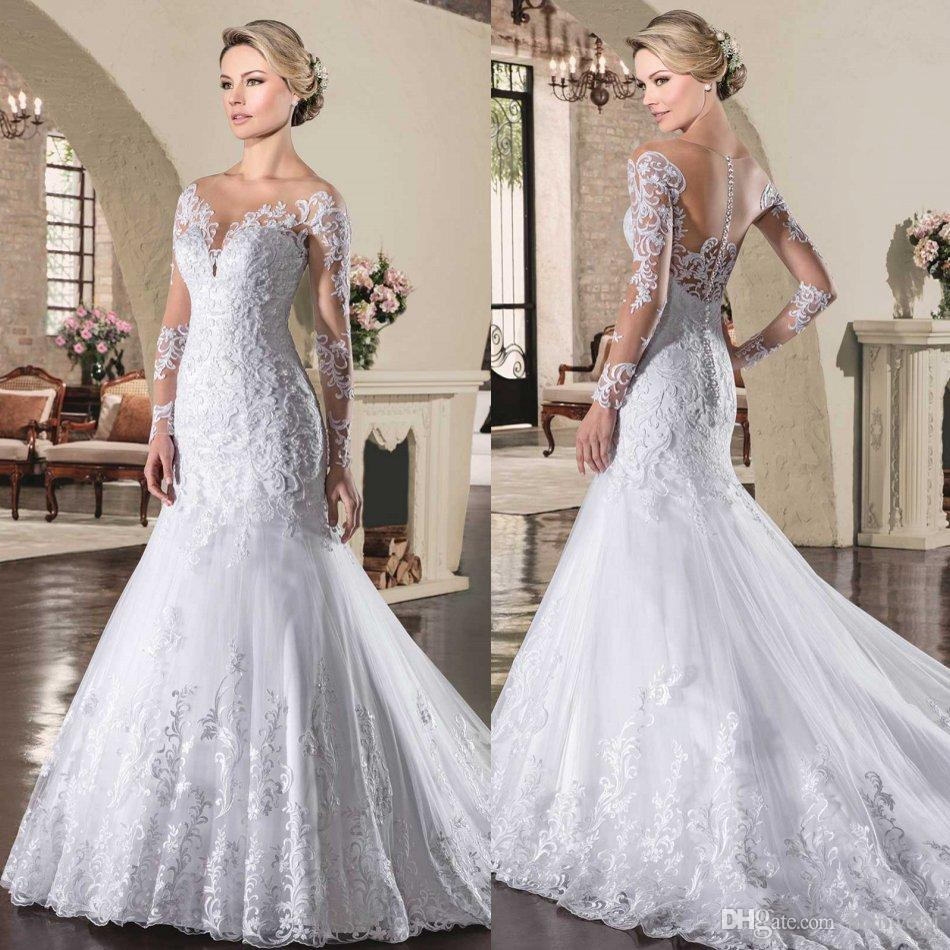 Via Sposa 2017 Lace Wedding Dresses Mermaid With Long Sleeves Beads ...