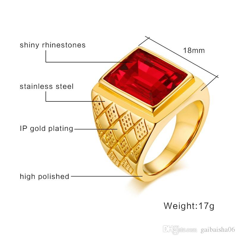 MeaEaguet Hombres de piedra grande Anillo de color dorado de acero inoxidable Anillos de dedo Hombre Fresco RC-266