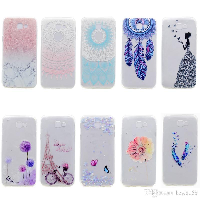 Marble Flower Soft TPU Case For Galaxy A7,A5,A32017,J7 prime,J5 prime,J3 prime,J2 primeGrand prime+G532,Rock Henna Eiffel Tower Gel Skin