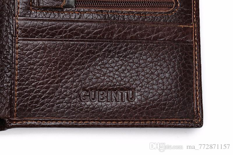 2017 Business Genuine Leather Men Wallet Money Clip ID Credit Card Case Passcase Purse Male Coffee Passcard Bag Money Pocket men's purse