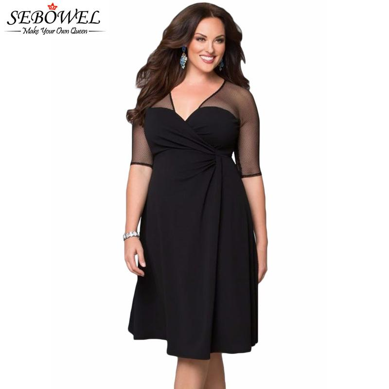 2018 Wholesale Looks Thin Sexy Mesh Half Sleeve Vestido Plus Size