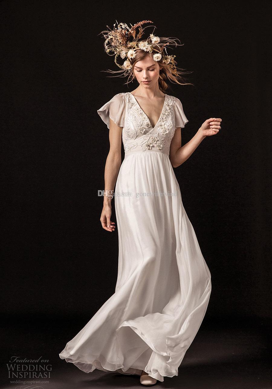 Discount Vintage Romantic Empire Wedding Dresses 2018 Temperley London Short Bell Sleeves V Neck Retro Sheer Lace Back Sweep Train Long Sleeve Dress