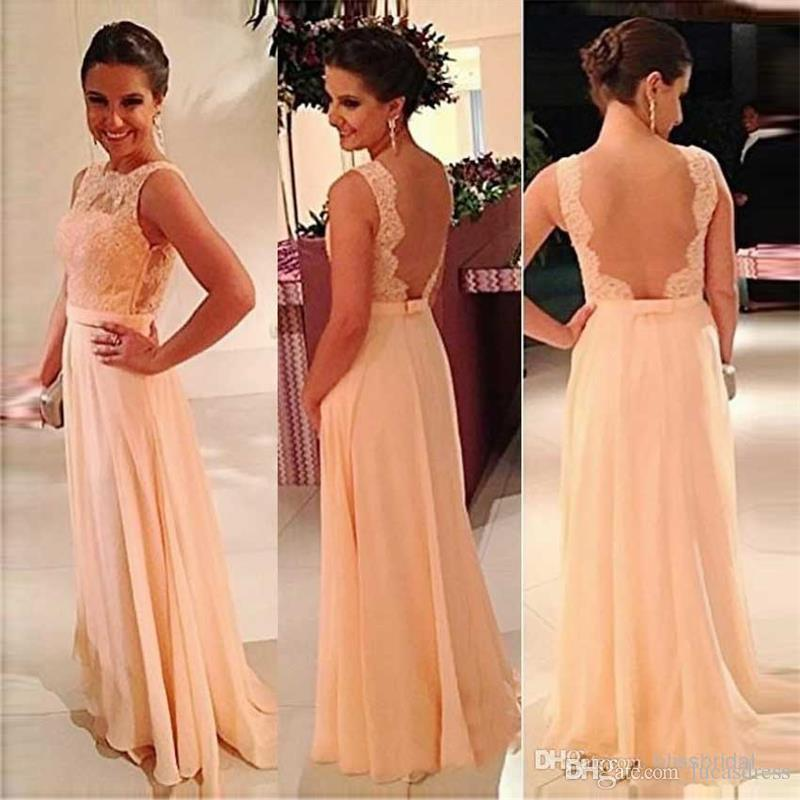 2020 Formal Bridesmaid Dresses vestidos de noiva Boat Neck For wedding party gowns Chiffon Fabric with Appliques