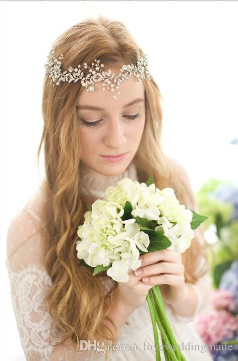 Romantic Wedding Jewelry Bride Headpieces Diamond Dress Accessories Hairband Pearl Wedding Tiara For Bridal Party wholesale