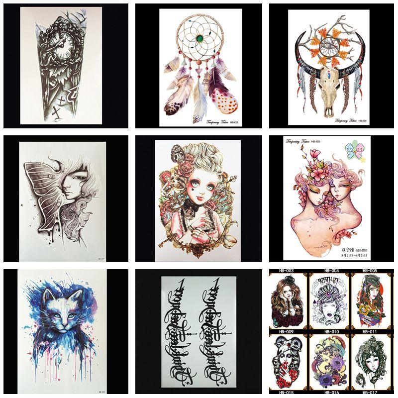 Mujeres Tatuaje Temporal Plantilla De Moda Pegatinas Vintage Cráneo